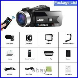 4K Video Camera Camcorder with Microphone 56.0MP Real WiFi Camera Live Streaming