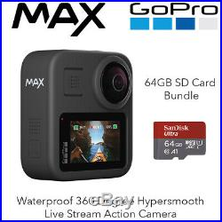 GoPro MAX Waterproof 360 Degree Hypersmooth Live Stream Action Camera + 64GB SD